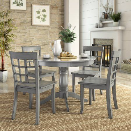 Lexington 5 Piece Dining Set With Round Table And 4 Window Back With Lamotte 5 Piece Dining Sets (View 6 of 25)