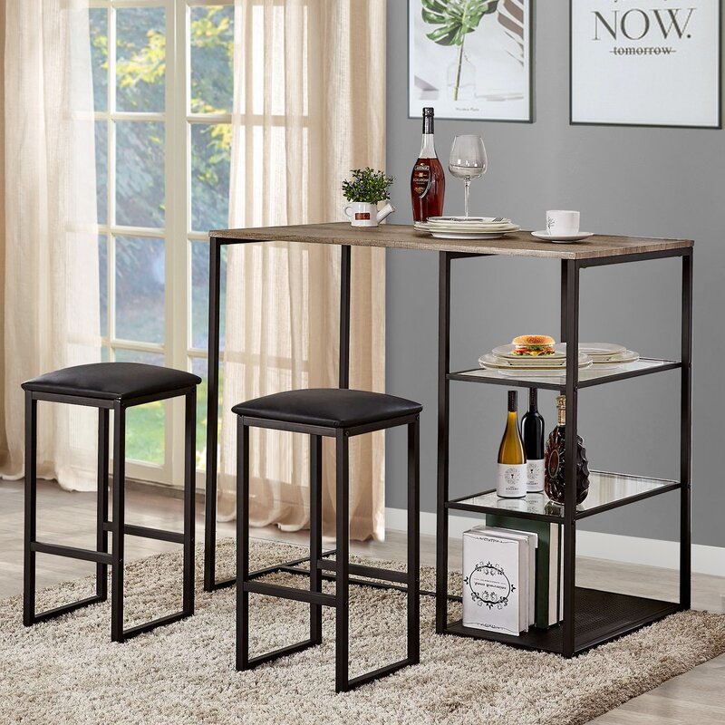 Ligon 3 Piece Breakfast Nook Dining Set For Giles 3 Piece Dining Sets (View 10 of 25)