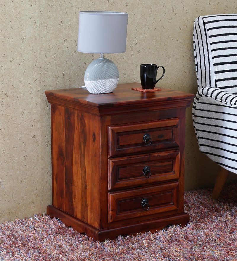 Linette Solid Wood Bedside Table With 3 Drawers In Honey Oak Finish Amberville Regarding Linette 5 Piece Dining Table Sets (Image 16 of 25)