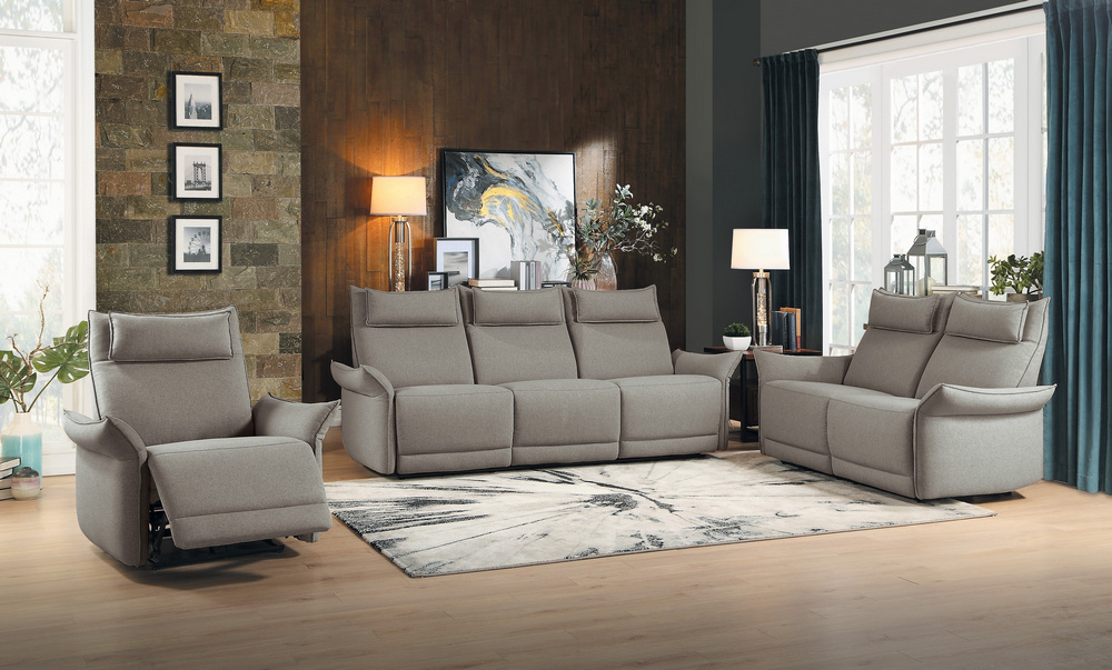 Linette Taupe Polyester Power Recliner Loveseathomelegance In Linette 5 Piece Dining Table Sets (Image 18 of 25)