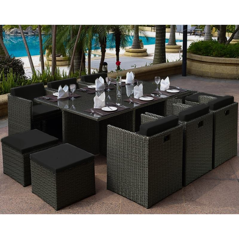 London Outdoor Modular Wicker Dining Set In Black Inside Lonon 3 Piece Dining Sets (View 19 of 25)