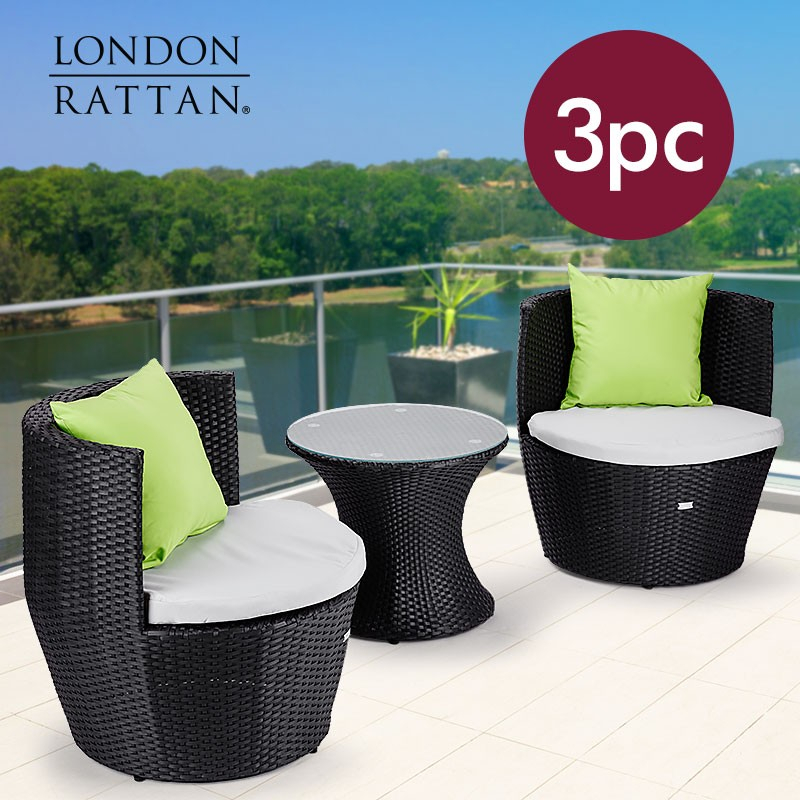 London Rattan Wicker 3 Piece Outdoor Furniture Set – Table Chairs Garden Setting Regarding Lonon 3 Piece Dining Sets (View 6 of 25)