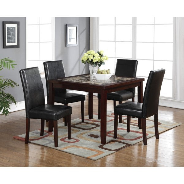 Lyke Home Aria 5 Piece Square Pub Dining Set For Aria 5 Piece Dining Sets (Image 22 of 25)