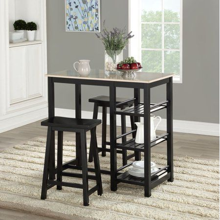 Mainstays Wood 3 Piece Tavern Set With Storage Shelves In 2019 With Tenney 3 Piece Counter Height Dining Sets (Image 20 of 25)