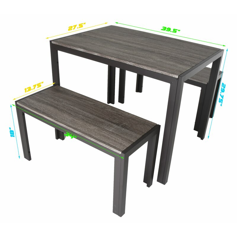 Maloney 3 Piece Breakfast Nook Dining Set For Chelmsford 3 Piece Dining Sets (Image 20 of 25)