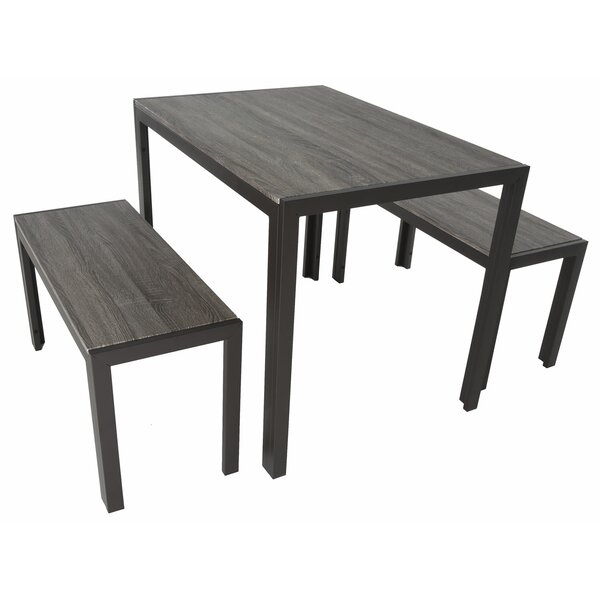Maloney 3 Piece Breakfast Nook Dining Set Throughout Ryker 3 Piece Dining Sets (View 11 of 25)