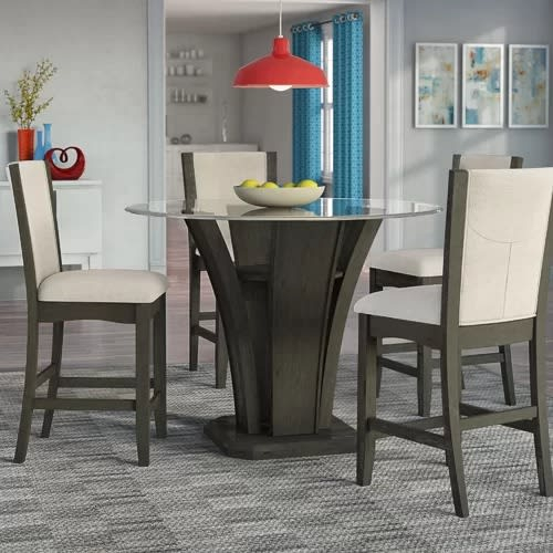 Marnie 5 Piece Round Counter Height Dining Set For Askern 3 Piece Counter Height Dining Sets (Set Of 3) (View 21 of 25)