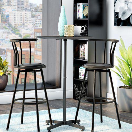 Mavis 3 Piece Pub Table Set | Apartment | Pub Table Sets, Bar For Crownover 3 Piece Bar Table Sets (View 14 of 25)