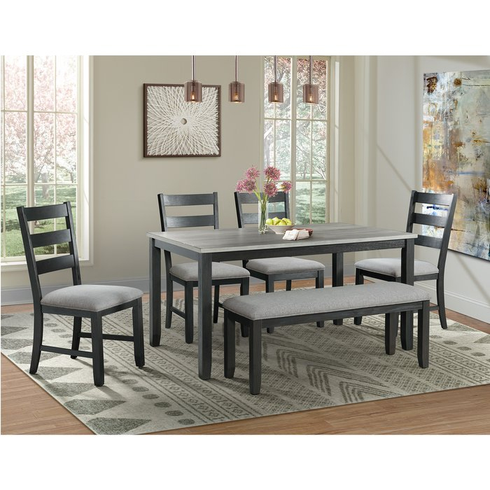 Mavis 6 Piece Solid Wood Dining Set Inside Hanska Wooden 5 Piece Counter Height Dining Table Sets (Set Of 5) (Image 13 of 25)