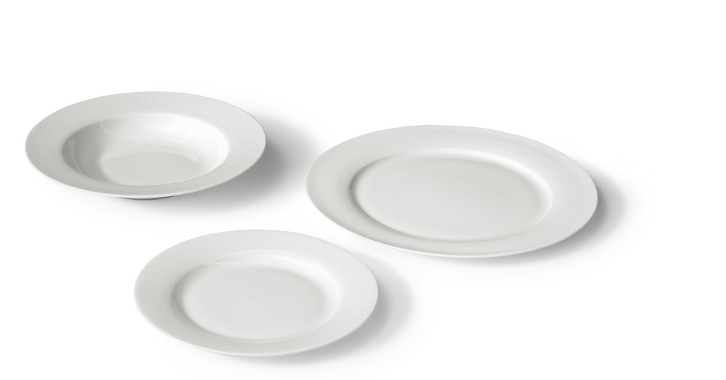 Maynard 12 Piece Textured Rim Dinner Set, White Bone China With Regard To Maynard 5 Piece Dining Sets (Image 6 of 25)