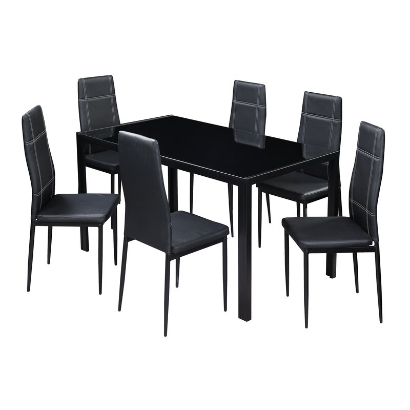 Maynard 7 Piece Dining Set Within Travon 5 Piece Dining Sets (Image 9 of 25)