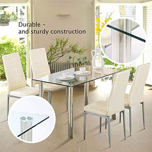 Mecor Glass Dining Table Set, 5 Piece Kitchen Table Set With 4 Pertaining To Stouferberg 5 Piece Dining Sets (View 22 of 25)