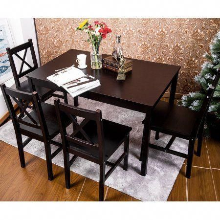 Merax 5 Pc Solid Wood Dining Set 4 Person Table And Chairs,espresso For Travon 5 Piece Dining Sets (View 19 of 25)