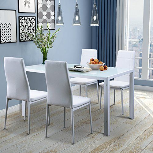 Merax 5 Piece Dining Set Glass Top Metal Table 4 Person Table And Regarding Noyes 5 Piece Dining Sets (Image 13 of 25)
