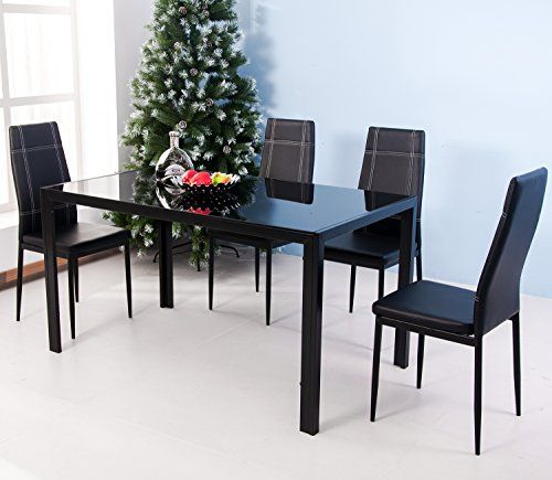 Merax 5Piece Dining Set Glass Top Metal Table 4 Person Table And Pertaining To Ephraim 5 Piece Dining Sets (Image 20 of 25)