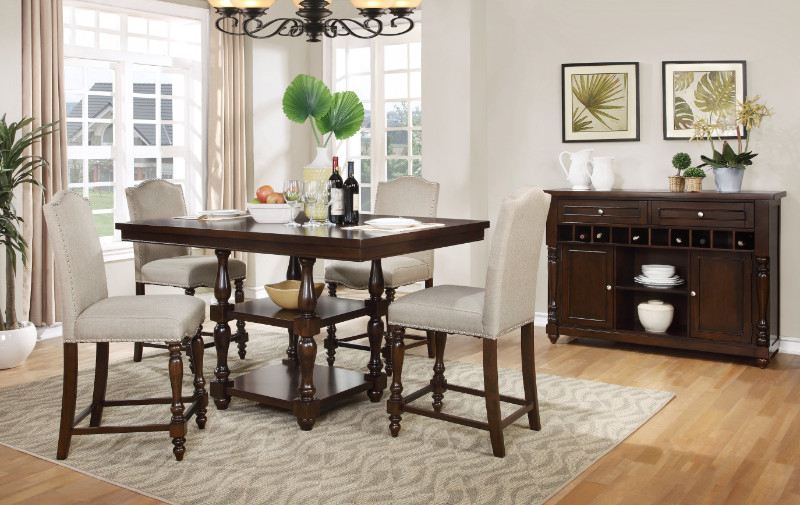 Mf D1889 5Pc 5 Pc Penelope Dark Finish Wood Turned Legs Counter For Penelope 3 Piece Counter Height Wood Dining Sets (Image 13 of 25)