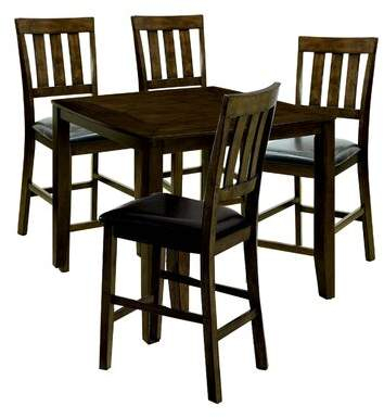 Millwood Pines Kasey Wooden 5 Piece Counter Height Dining Table Set  Millwood Pines With Ephraim 5 Piece Dining Sets (Image 21 of 25)