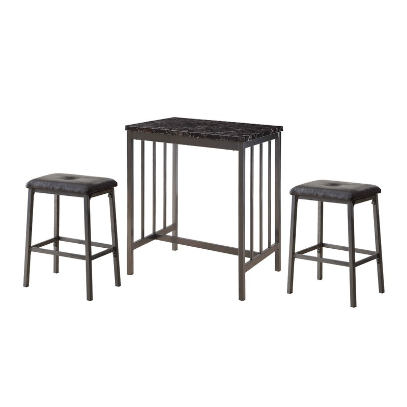 Mizpah 3 Piece Counter Height Dining Set With Regard To Anette 3 Piece Counter Height Dining Sets (Image 13 of 25)