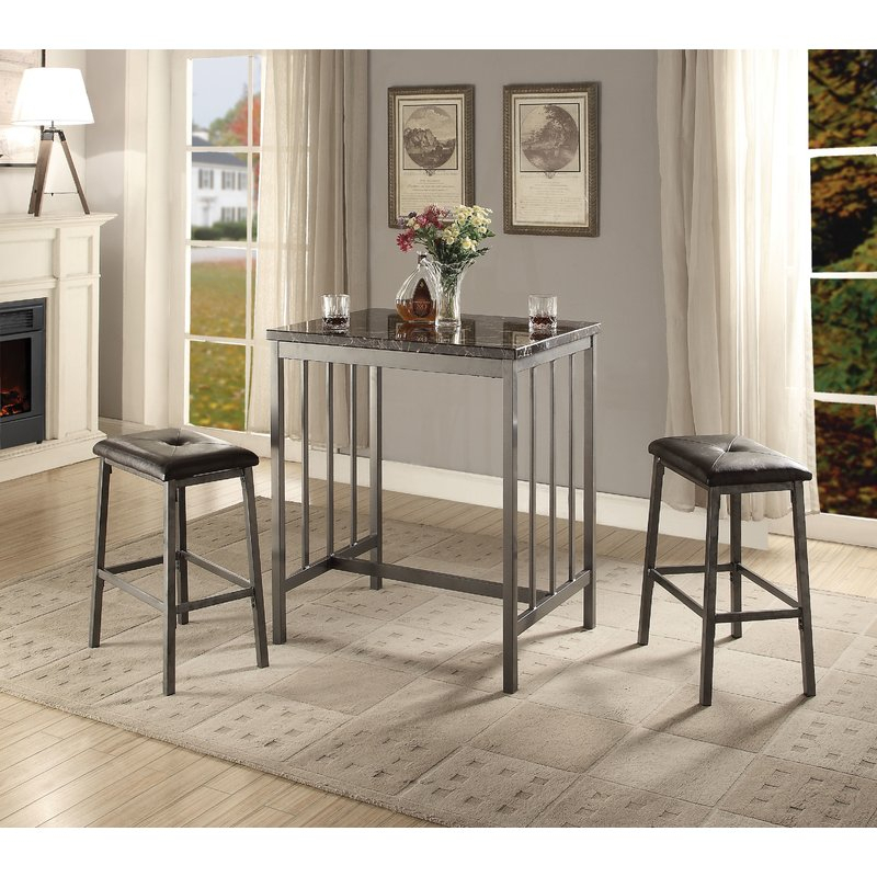 Mizpah 3 Piece Counter Height Dining Set Within Anette 3 Piece Counter Height Dining Sets (Image 14 of 25)