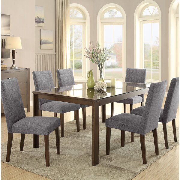 Modern Belvedere 7 Piece Dining Setlatitude Run Cool | Kitchen Inside Frida 3 Piece Dining Table Sets (Image 20 of 25)