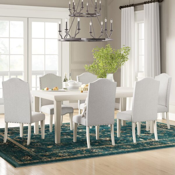Modern Calila 7 Piece Extendable Solid Wood Dining Setbirch Lane Within Wiggs 5 Piece Dining Sets (View 16 of 25)