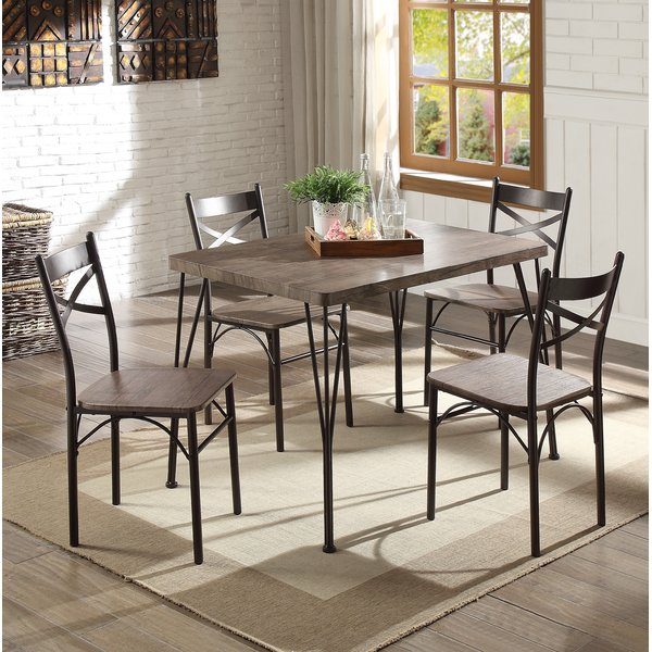 Modern Melanie 5 Piece Extendable Solid Wood Dining Setalcott Inside Hood Canal 3 Piece Dining Sets (Image 21 of 25)