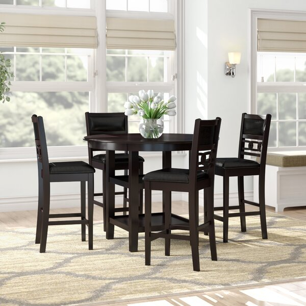 Modern Melanie 5 Piece Extendable Solid Wood Dining Setalcott Throughout Middleport 5 Piece Dining Sets (Image 17 of 25)