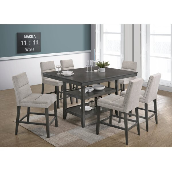 Modern Timm 7 Piece Counter Height Dining Setwrought Studio Throughout Sheetz 3 Piece Counter Height Dining Sets (View 5 of 25)