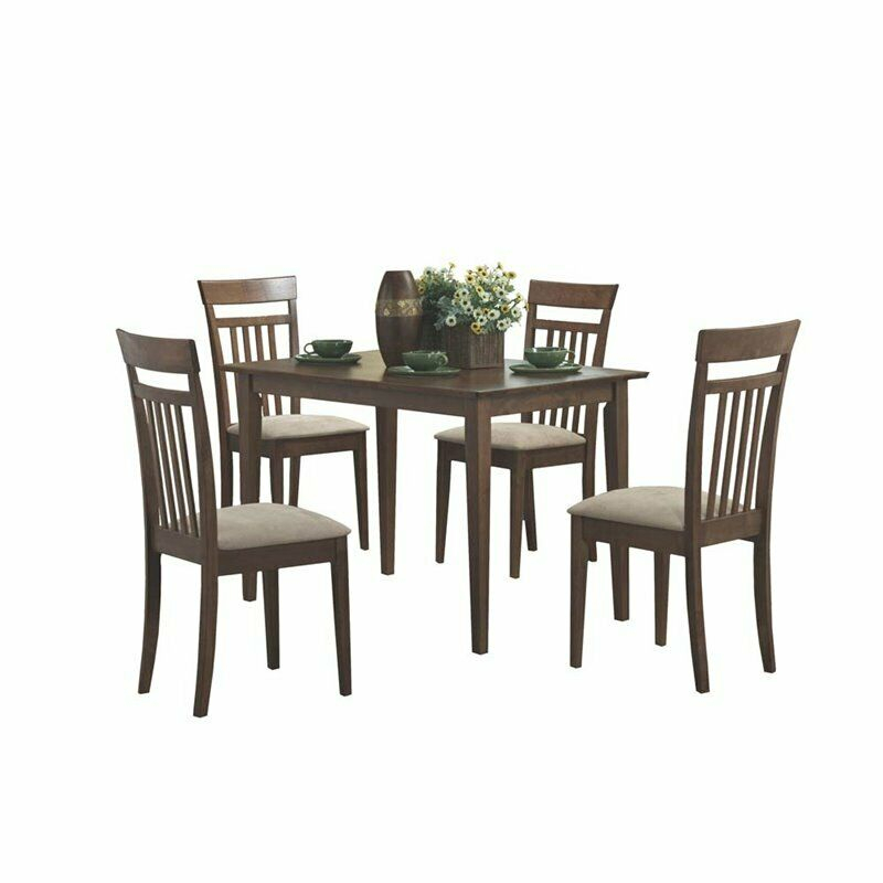Monarch Specialties 5 Piece Wood Dining Set Intended For Evellen 5 Piece Solid Wood Dining Sets (Set Of 5) (View 18 of 25)