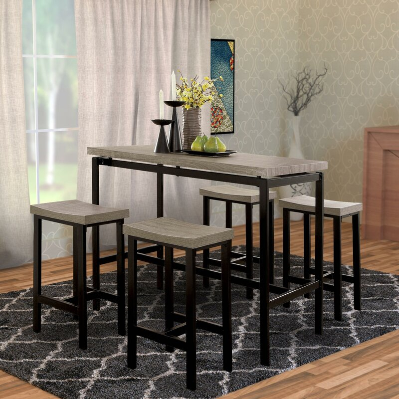Mounce Wooden 5 Piece Pub Table Set For Hanska Wooden 5 Piece Counter Height Dining Table Sets (Set Of 5) (Image 14 of 25)