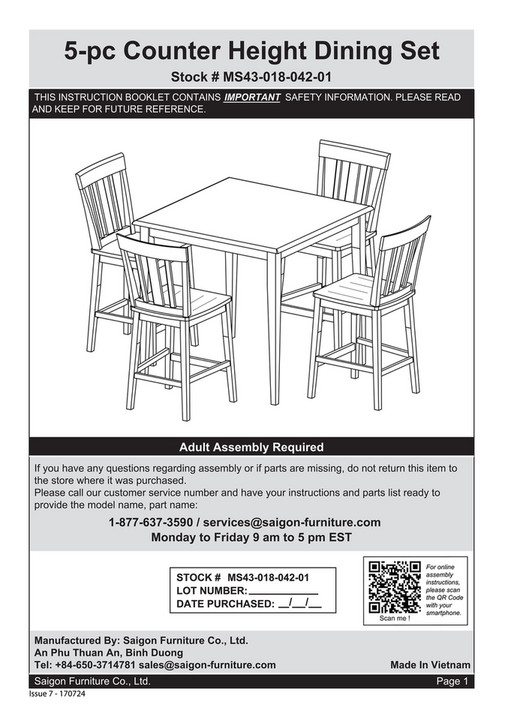 My Publications – Instruction Manual For Ms43 018 042 01 – Mainstays Intended For Calla 5 Piece Dining Sets (Image 20 of 25)