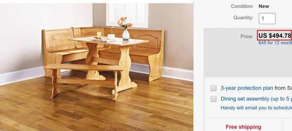 New 3 Piece Corner Breakfast Nook Pine Finish Table Bench Chair 5 People Storage Coloring Table For Sale In Springfield, Mo - Offerup in Springfield 3 Piece Dining Sets