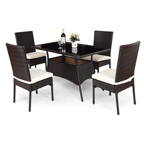 New Costway 5 Piece Outdoor Patio Furniture Rattan Dining Table Throughout Cargo 5 Piece Dining Sets (Image 24 of 25)