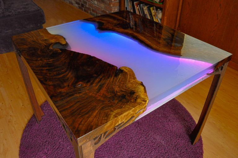 New Guide: Make A Glowing Led Resin River Table | Designs | Epoxy Pertaining To Rarick 5 Piece Solid Wood Dining Sets (Set Of 5) (View 14 of 25)