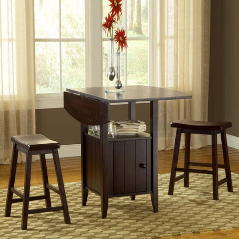 New London 3 Piece Drop Leaf Dining Set With Storage - 5014 with regard to Lonon 3 Piece Dining Sets