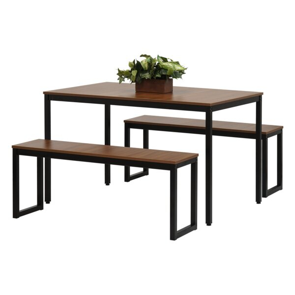 New West Hill Family Table 3 Piece Dining Setebern Designs intended for Bedfo 3 Piece Dining Sets