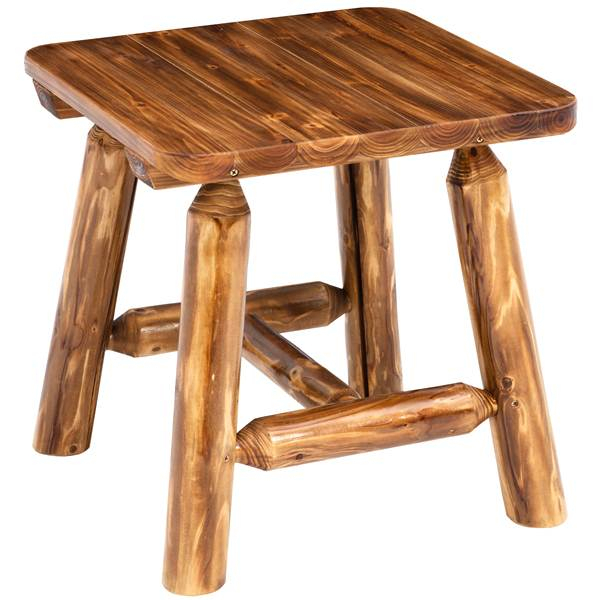 Northwoods Log End Table Inside Northwoods 3 Piece Dining Sets (View 23 of 25)