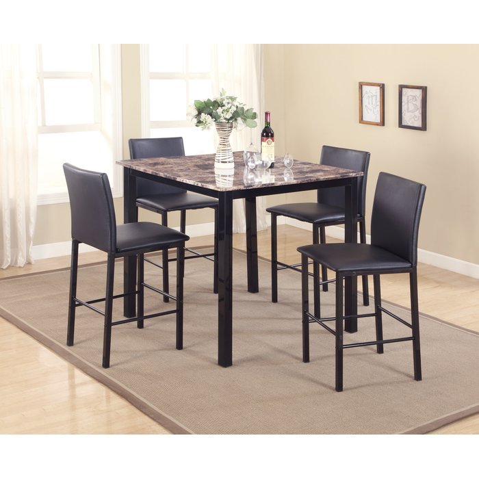 Noyes 5 Piece Counter Height Dining Set within Autberry 5 Piece Dining Sets