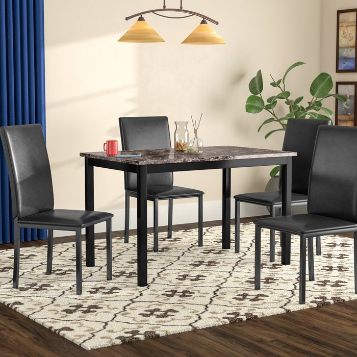 Noyes 5 Piece Dining Set intended for Amir 5 Piece Solid Wood Dining Sets (Set Of 5)
