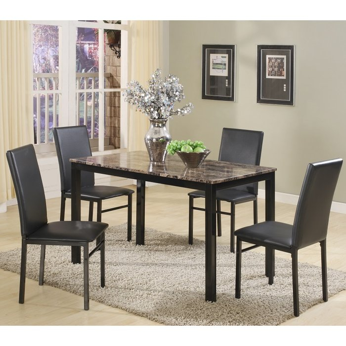 Noyes 5 Piece Dining Set regarding Amir 5 Piece Solid Wood Dining Sets (Set Of 5)