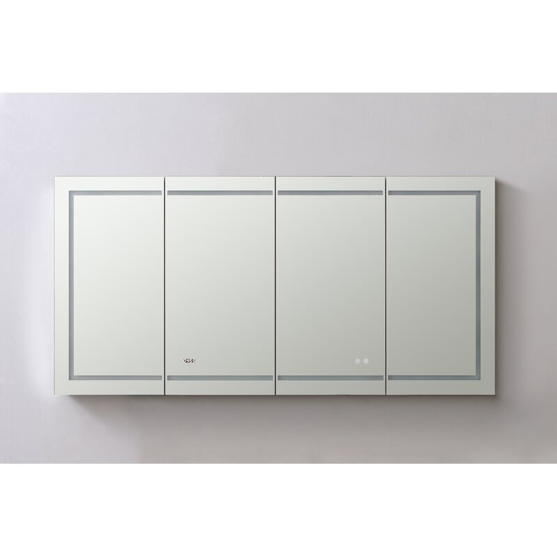 """Nutter 72"""" X 36"""" Recessed Or Surface Mount Frameless Medicine Cabinet With 12 Adjustable Shelves And Led Lighting For Nutter 3 Piece Dining Sets (View 16 of 25)"""