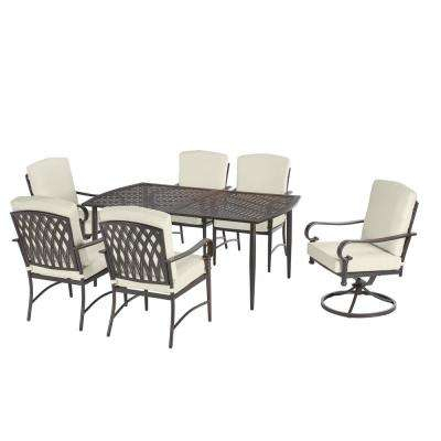 Oak Cliff Custom 7 Piece Outdoor Dining Set W/ 4 Stationary & 2 Swivel  Chairs & Cushions Included, Choose Your Own Color Pertaining To Lonon 3 Piece Dining Sets (Photo 22 of 25)