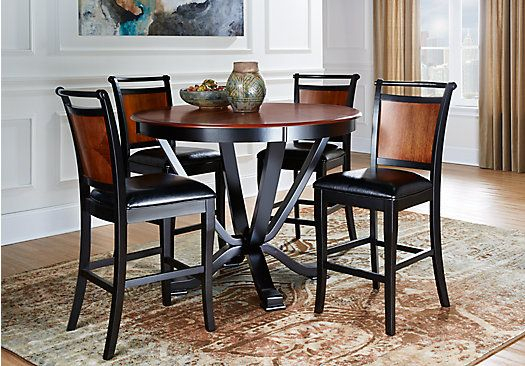Orland Park Black 5 Pc Counter Height Dining Set With Black Stools In Castellanos Modern 5 Piece Counter Height Dining Sets (View 16 of 25)
