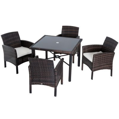 Outsunny Patio Dining Sets Outdoor Tables And Chairs Cheap Garden In Cargo 5 Piece Dining Sets (Image 25 of 25)
