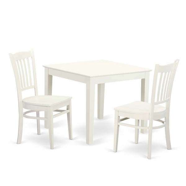 Oxgr3 W 3 Piece Breakfast Nook Table And 2 Wood Dining Room Chair In Linen  White Finish Intended For 3 Piece Breakfast Dining Sets (Photo 7611 of 7746)
