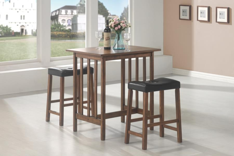 Packaged Sets: 3 Pc Set - Casual Brown Three-Piece Table Set pertaining to Bedfo 3 Piece Dining Sets