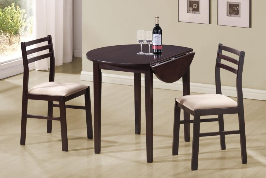 Packaged Sets: 3 Pc Set – Casual Cappuccino Three Piece Dining Set Regarding Bedfo 3 Piece Dining Sets (View 4 of 25)