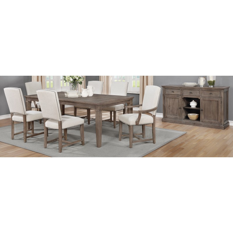 Penelope 7 Piece Dining Set Island Khaki And Rice Grey For Penelope 3 Piece Counter Height Wood Dining Sets (Image 15 of 25)