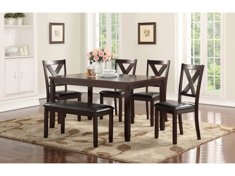 Penelope Collection 6 Pc Dining Set With Bench | Orange County, Ca pertaining to Penelope 3 Piece Counter Height Wood Dining Sets