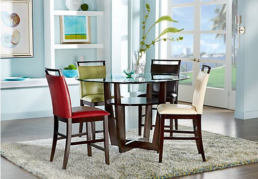 Picture Of Ciara Espresso 5 Pc Counter Height Dining Set With Brown With Regard To Presson 3 Piece Counter Height Dining Sets (Image 20 of 25)